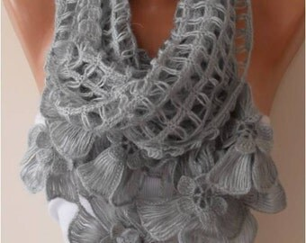 Christmas Gift Winter Scarf Knitting Scarf Grey Women Scarf Crochet Scarf Gift for Her Autumn Winter Holiday Gift Ideas Women Fashion