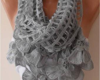 Gray Wool Crochet Scarf - Handknit - Winter Scarf