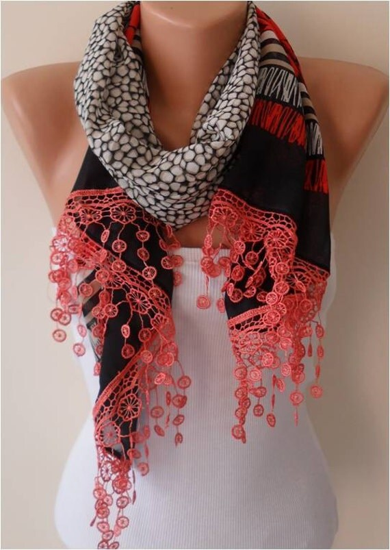 Coral Floral Chiffon Scarf with Lace Edge - Gift