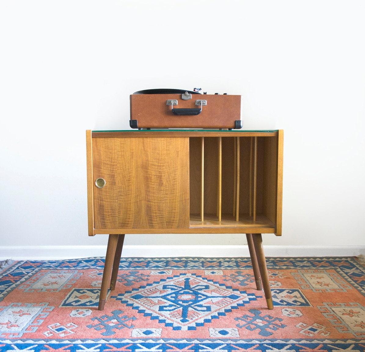 Vintage Record Cabinet Mid Century Modern Vinyl Storage