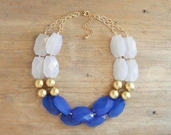 Cobalt and Gold Statement Necklace, Chunky Blue Bib Necklace, Cobalt Statement Necklace, Double Strand