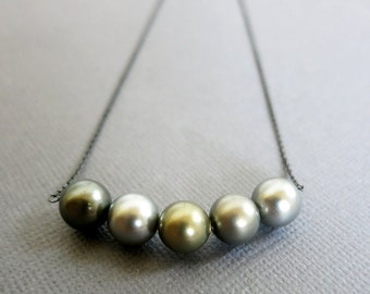 Multi Gray color Pearl necklace, Pearl Bar Necklace, Oxidized Sterling silver necklace, Summer Jewelry, oxidized silver jewelry, Boho Chic