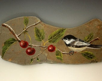 Original Acryliic Painting Cherries and Chickadee on Slate