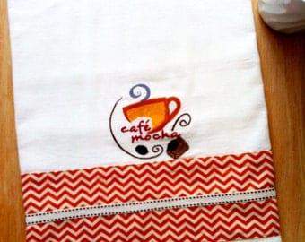 Dish Towel COFFEE / CAFE MOCHA chevron theme, Embroidered flour sack style