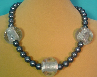 """Chunky 18"""" Silver and glass necklace - N266"""