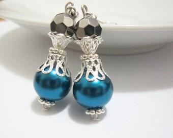 Teal Pearl Earrings, Vintage Style Earrings, Blue Bridesmaid Jewelry, Victorian, Bridal Earrings, Wedding Jewelry