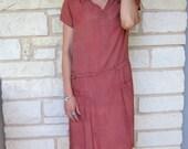 Early 1920s British Pink Mauve Silk Drop Waist Gatsby Shift Dress