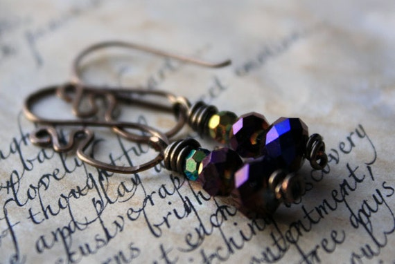 Art Nouveau Inspired Violet Faceted Glass Drop Earrings