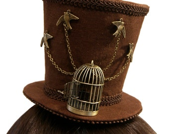 """Antique Bronze """"Release the Birds"""" Steampunk Mini Top Hat - Made to Order"""