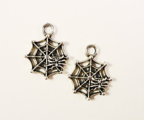 Spider Web Charms 17x14mm Antique Silver Metal Insect Bug Spiderweb Halloween Charm Pendant Jewelry Findings for Jewelry Making 10pcs