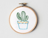 Succulent Cactus in a Pot Embroidery Hoop Art Home Decor