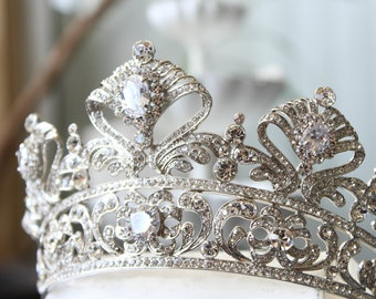 Full Bridal Crown, Swarovski Crystal Crown, CORDELIA Crown, Silver Bridal Diadem, Crystal Wedding Tiara, Diamante Tiara, Bridal Tiara