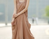 Linen dress  maxi dress woman long dress in brown C344