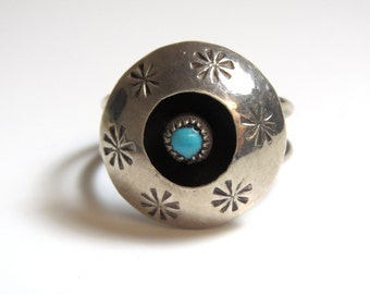 Sterling Silver Turquoise Shadow Box Ring Size 7 1/2 - Weight 4.4 Grams - Blue # 2314