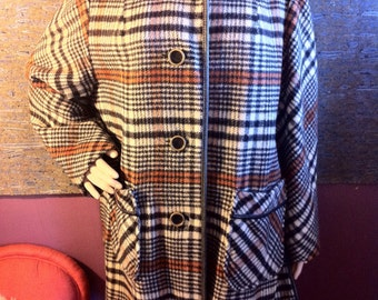 100% Wool Plaid Coat w/ Leather Piping & Brass/Leather Buttons