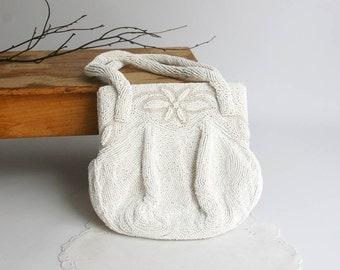 Vintage White Evening Bag Charlet K & G Paris New York Cream or White beads 1940s handbag wedding mother of the bride christmas holiday