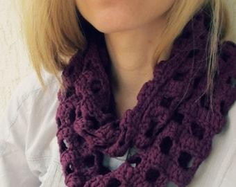 Cranberry Cotton Scraf / Crochet dark purple circle scarf / Cotton infinity scarf / Europeanstreetteam