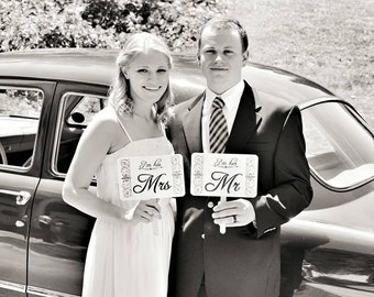 my ORIGINAL Royale2- I'm His/I'm Her MR & MRS- Happily Ever After- Double Sided Wedding Photo Props Sign on White Paper - Set of 2
