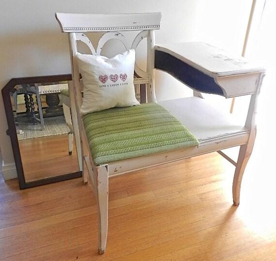 Vintage Wood Chair Distressed Telephone Table By LAREfurbish