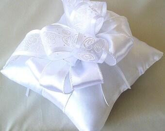 Ring pillow wedding, Pillow white wedding Ring bearer pillow White satin ring bearer pillow White ring pillow
