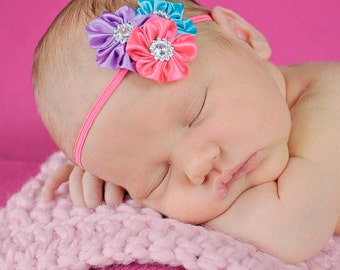 SALE Baby Headband, Infant Headband, Newborn Headband, Toddler Headband -Mini Satin Flower Cluster - Bright Pink, Purple, and Aqua