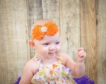 Baby Headband, Orange Baby Headband, Pumpkin Orange Baby Headband, Infant Headband, Newborn Headband, Shabby Chic Headband, Orange Headband