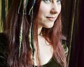 Dryad MINI ELFLOCKS Clip-in Dreads Streak in Green/Brown/Stormy Grey Dreadlocks Alt Fashion Tribal Dance Cosplay Goth LARP