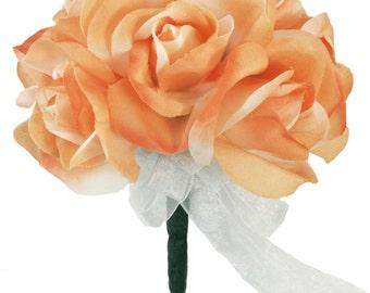 Peach Silk Rose Toss Bouquet - 1 Dozen Silk Roses - Bridal Wedding Bouquet