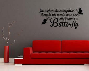 She Became A Butterfly Girls Wall Decal Vinyl Word Home Art (JR101)