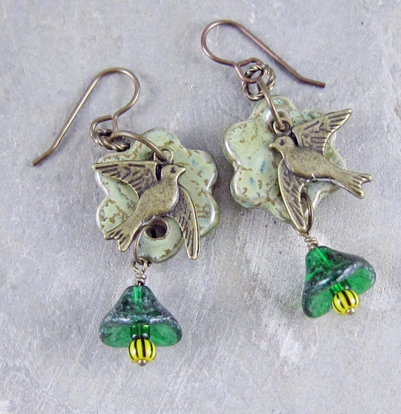 Handmade bird and flower earrings bu Linda Landig Jewelry