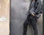 Charcoal  Drop Crotch  Pants / Extravagant Dark Grey  Trousers A05114