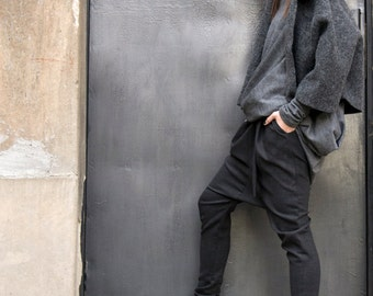 Charcoal  Drop Crotch  Pants / Extravagant Dark Grey  Trousers A05114
