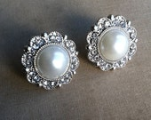 Bridesmaid earring, bridesmaid jewelry, Bridal Pearl Crystal earring white vintage rhinestone stud post FILIGREE