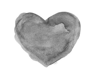 Black and White Art Print, Watercolor Heart, Charcoal Art Grey Art, 8x10 Print, Black Decor, Black and Gray Decor, Black and Gray Art