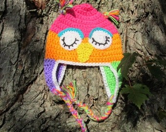 Teen or Adult Owl Hat, Baby Owl Hat, Crochet Owl Hat, Toddler Owl Hat, Child Owl Hat, Photo Prop