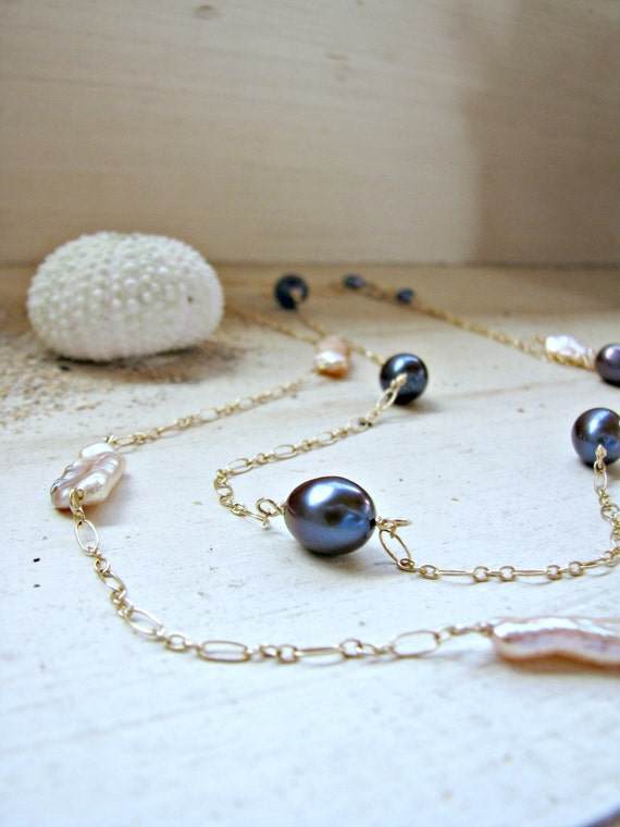 Black And Gold Chain Necklace Necklace Black Pearl Gold