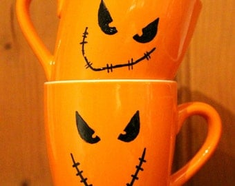 Hand painted Pumpkin Face Cup