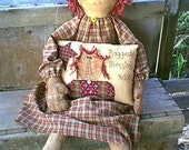 Primitive Raggedy Ann doll with pillow e-pattern