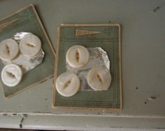 Vintage / Antique Buttons /on Aqua Card / Supplies / White Buttons