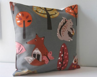 Woodland Fox n Squirrel designer Pillow cover Cushion cover
