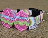 Easter Dog Collar - Pink Dot Easter Eggs on Multicolored Chevron