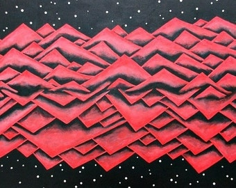Large 12x24 surreal neon red mountain painting against dark night sky mountain range nature painting surreal original acrylic art
