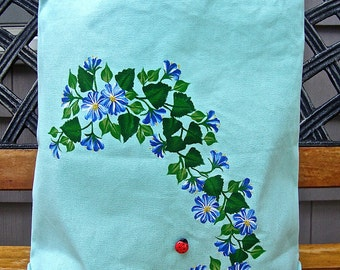ON SALE-Use coupon BAGS50 to save-Hand Painted Blue and White Flowered Tote Bag With A Ladybug, Mother's Day Gift