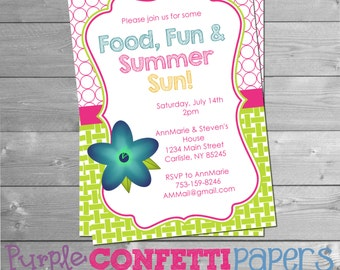 Printable Summer Party Invitation with Blue Flower - Summer BBQ, Blue Flower, Pool Party, Summer Party, Food Fun & Summer Sun, 5x7