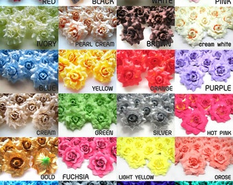 100 mini Silk Roses Heads Single Tone - Artificial Silk Flower - 1.75 inches - Wholesale Lot - for Wedding Work, Make Hair clips, headbands