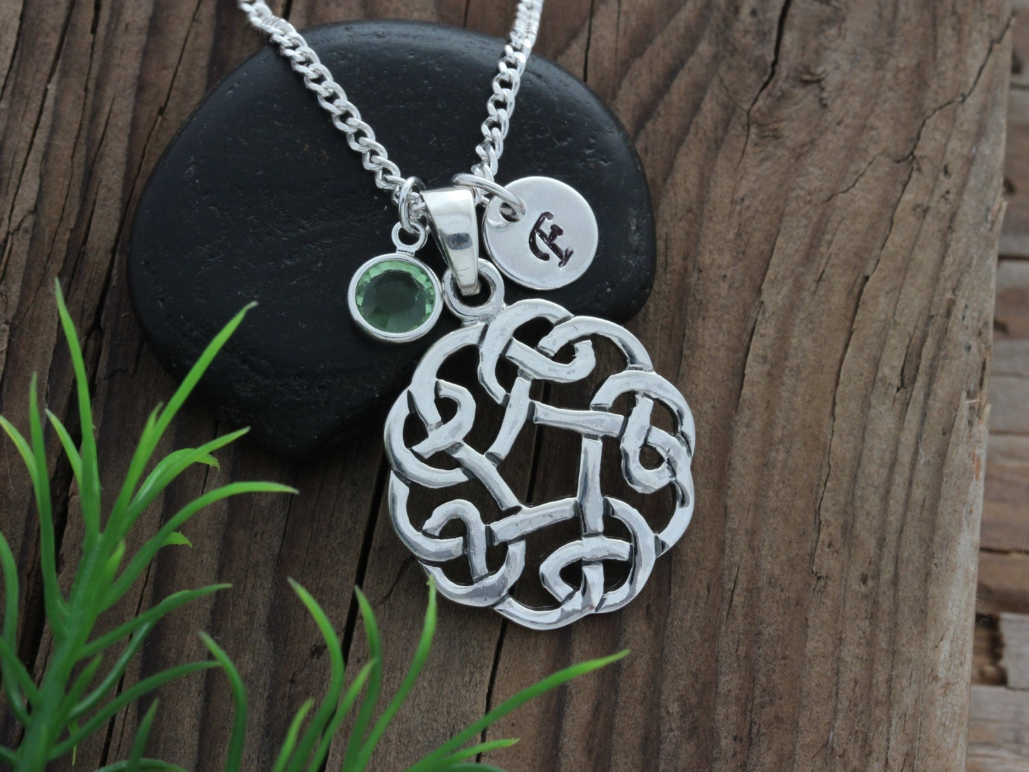 sterling silver celtic knot knot pendant with initial. Black Bedroom Furniture Sets. Home Design Ideas