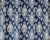 Navy Blue White Southwesterm Ikat Raji Curtains - Grommet - 84 96 108 or 120 Long by 25 or 50 Wide - Optional Blackout or Cotton Lining