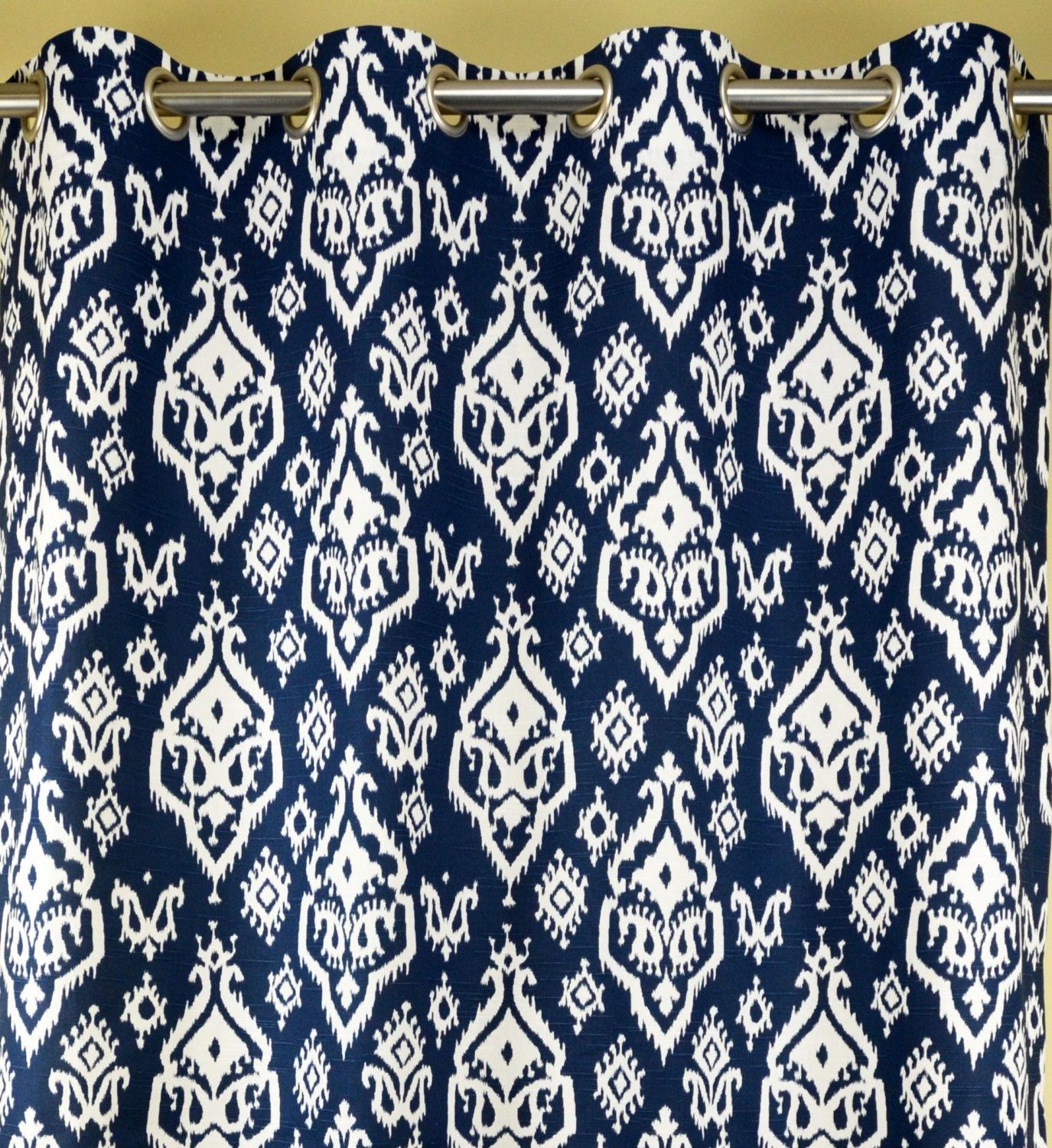 Navy Blue White Southwesterm Ikat Raji Curtains Grommet 84