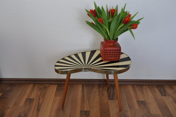 original mid century plant stand 1950s small table striped. Black Bedroom Furniture Sets. Home Design Ideas