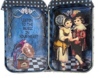 Altered Altoid Tin, Assemblage Miniature, Steampunk Art, Fairy Art, Listen To The Music